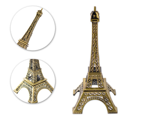 Romantic Metallic Eiffel Tower Model Statue Decoration - 32cm
