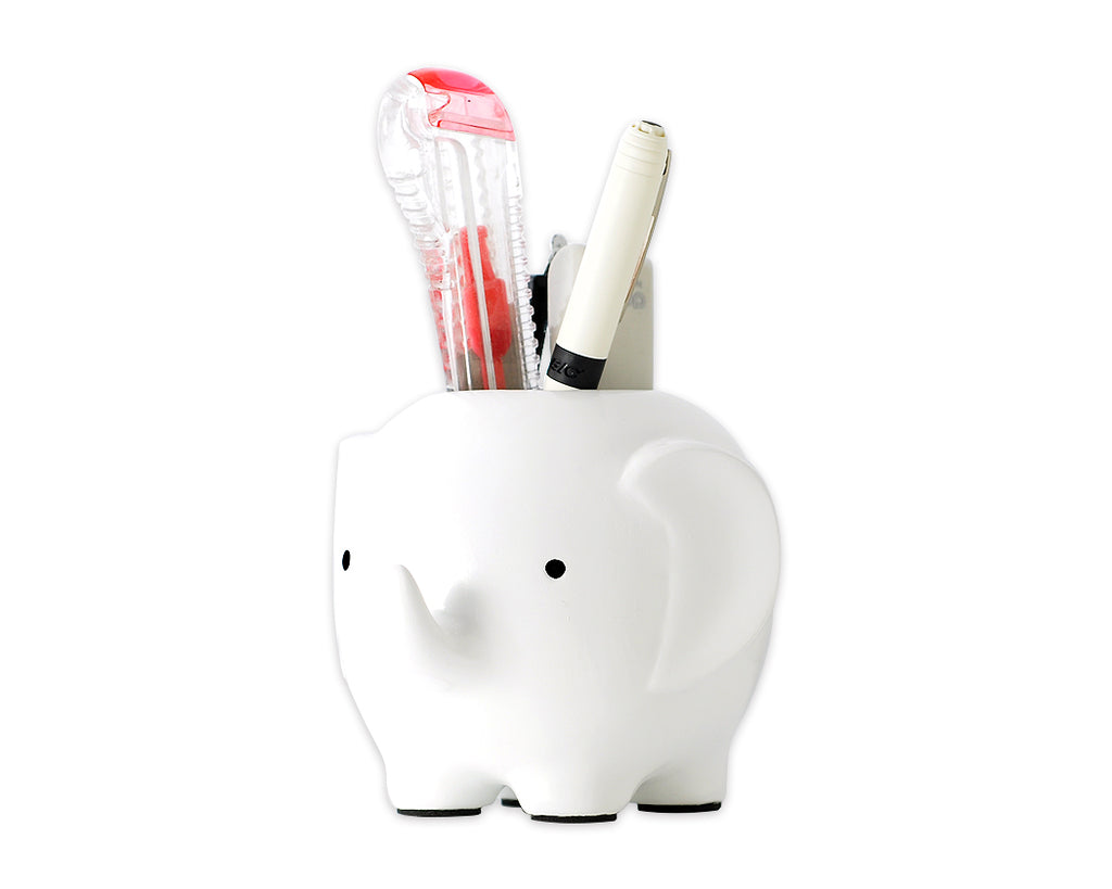 Elephant Shape Desk Pencil Holder - White