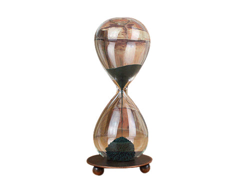 Mouth Blown Magnetic Sand Hourglass with Stand