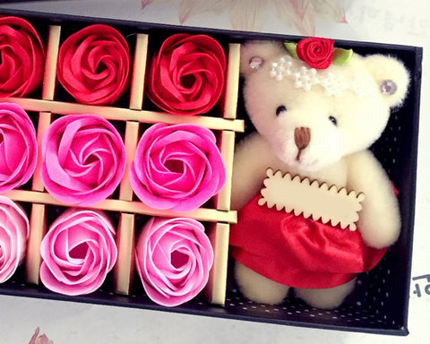 12 Pcs Scented Rose Petal Bath Soap with Little Bear - Pink