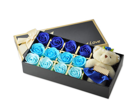 12 Pcs Scented Rose Petal Bath Soap with Little Bear - Blue