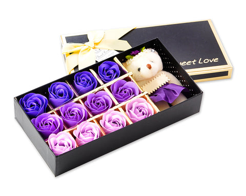 12 Pcs Scented Rose Petal Bath Soap with Little Bear - Purple