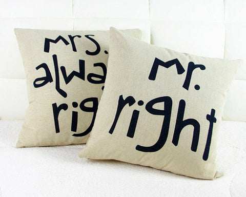 Funny Mr and Mrs Right Couple Pillowcase Cushion Cover