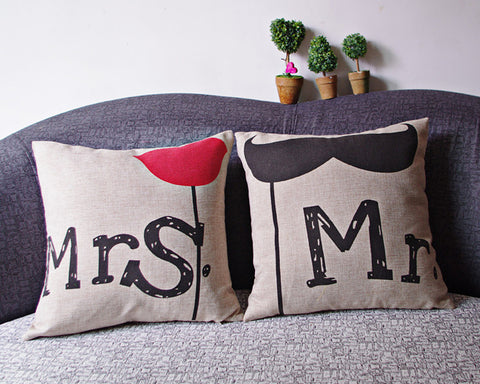 Cute Wedding Decor Mr Beard and Mrs Kiss Throw Pillow Cushion Cover