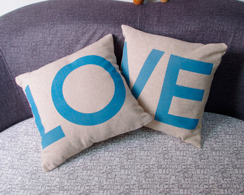 Linen Romantic Love Couple Throw Pillow Case Cushion Cover