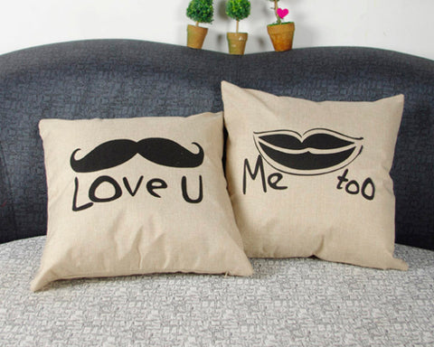 Romantic Linen Decorative Beard Couple Throw Pillow Case Cushion Cover