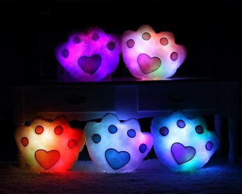 Luminous Glow Paw LED Light Up Paw Pillow with Speaker