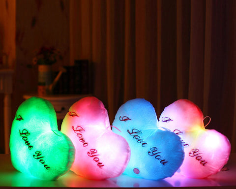 Luminous I Love You LED Light Up Heart Shaped Pillow with Speaker