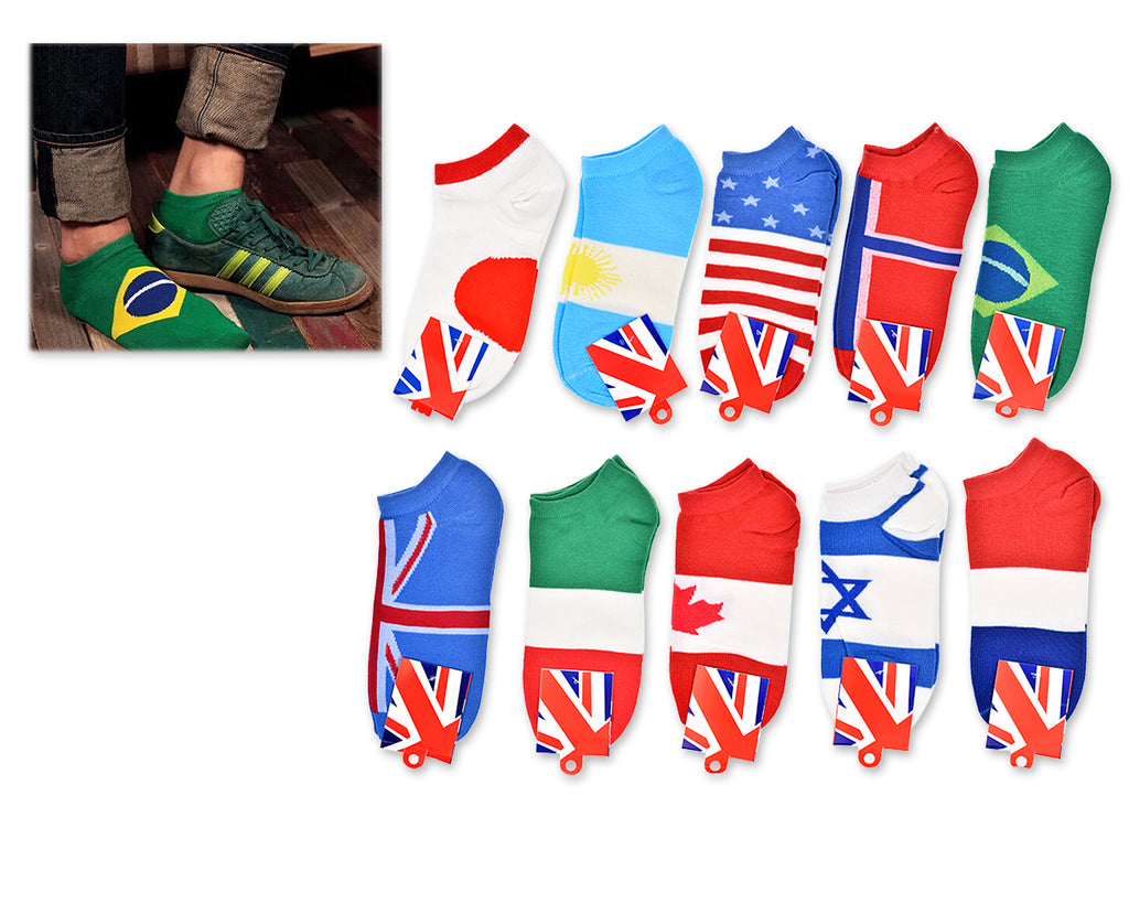 10 Pairs One Size National Flag Series World Cup Cotton Ankle Socks