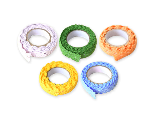 5 Pcs 1.7 cm Colorful Lace Decorative Craft Masking Washi Tape