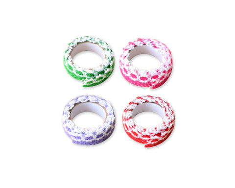 Lace Decorative Masking Adhesive Washi Tape Scrapbook Sticker - 4 Pcs