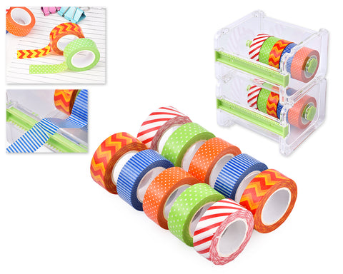 10 Pcs 1.5m Washi Making Tapes with 2 Pcs Tape Dispensers