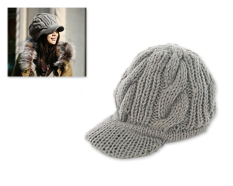 Visor Hat Style Women Winter Cable Knit Hat - Grey