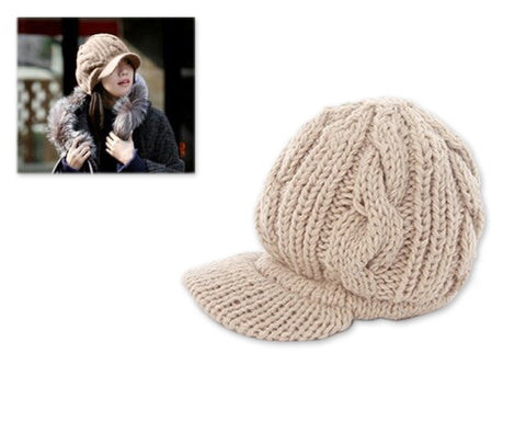 Visor Hat Style Women Winter Cable Knit Hat - Beige
