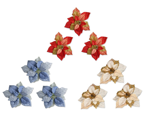 3 Pcs Poinsettia Flower Christmas Tree Ornaments Set