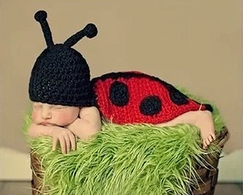 Crochet Knitted Newborn Photography Prop Baby Outfit Costume - Ladybug