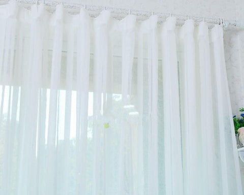 1x2.7M Elegant Window Sheer Curtain - Pure White