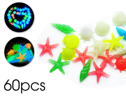 60 Pcs Small Luminous Aquarium Pebbles Set - Starfish and Shell