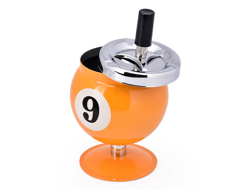 One Push Spinning Pool Ball Ashtray with Stand - Yellow