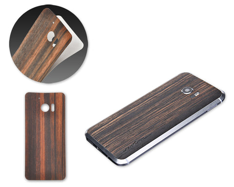 0.3mm Real Wood Back Protective Sticker for HTC 10 - Ebony