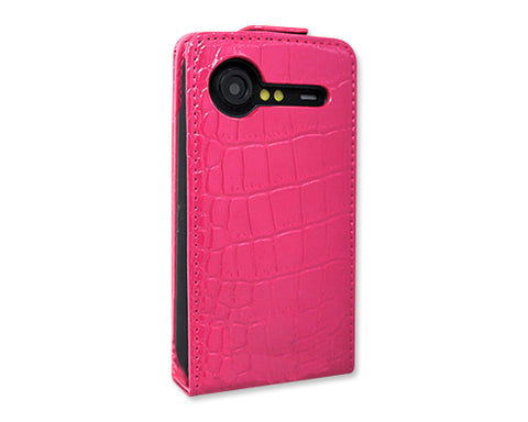 Krokodil Series HTC Incredible S Flip Leather Case S710e - Magenta