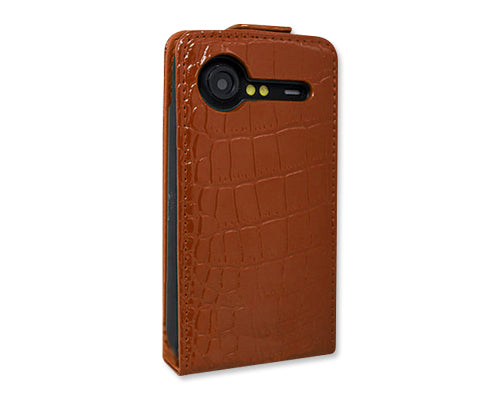 Krokodil Series HTC Incredible S Flip Leather Case S710e - Brown