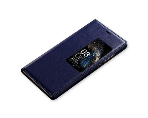 Eyelet Series Huawei P8 Flip Leather Case - Blue