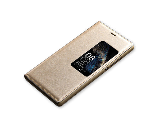 Eyelet Series Huawei P8 Flip Leather Case - Gold