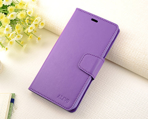 Fold Series Huawei P8 Flip Leather Case - Purple