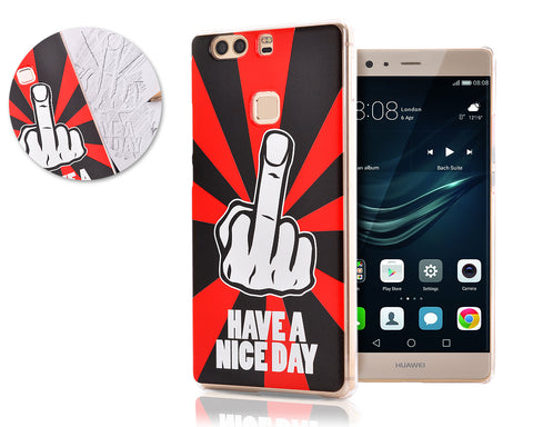 Middle Finger Series TPU & PC Huawei P9 Plus Hard Case - Red