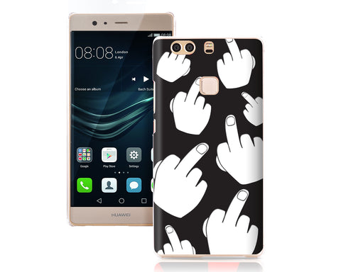 Middle Finger Series TPU and PC Huawei P9 Plus Hard Case - Black