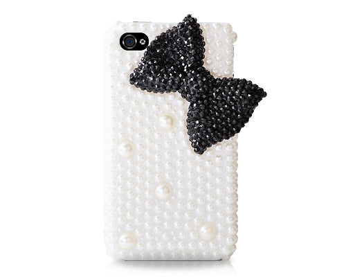 3D Pearl Bow Series iPhone 4 and 4S Crystal Case - Black