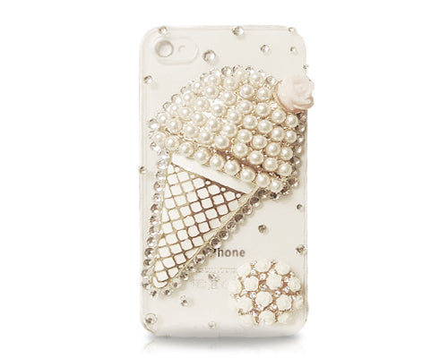 3D Pearl Style Series iPhone 4 and 4S Crystal Case - Ice Cream White