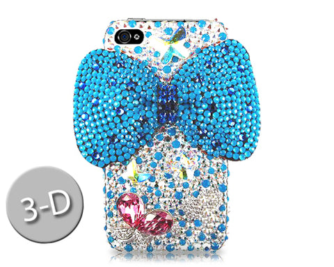 Ribbon Bow Bling Swarovski Crystal Phone Cases - Ultra Blue