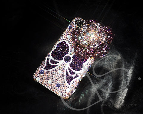 Butterfly Floral Ribbon Bling Swarovski Crystal Phone Cases  - Purple