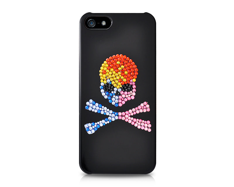 Skull Crossed Bling Swarovski Crystal Phone Cases - Colourful