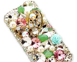 3D Stylish Rhinestone Series iPhone 5/5S Crystal Case - Green Heart