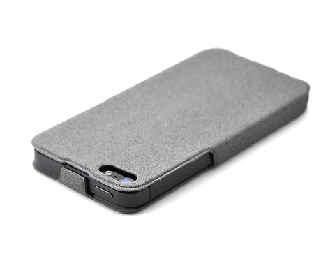 Crackle-Style Series iPhone 5 and 5S Flip Leather Case - Gray