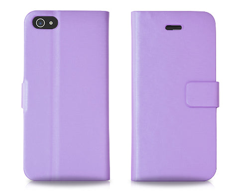 Simplism Series iPhone 5 and 5S Flip Leather Case - Purple