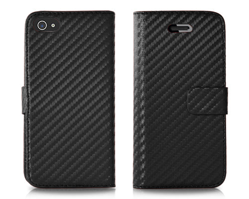 Twill Series iPhone 5 and 5S Flip Leather Case - Black