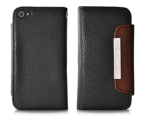 Wallet Series iPhone 5 and 5S Flip Leather Case - Black