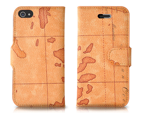 Map Series iPhone 5 and 5S Flip Leather Case - Deep Brown
