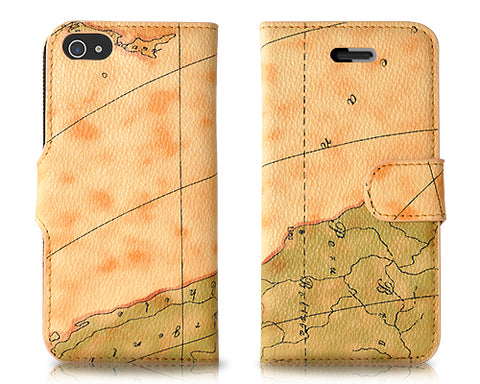 Map Series iPhone 5 and 5S Flip Leather Case - Light Brown