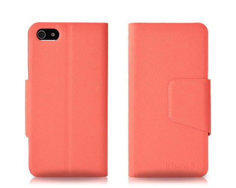 Fold Series iPhone 5 and 5S Flip Leather Case - Pink