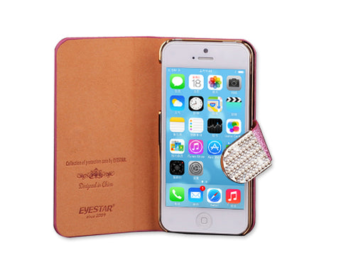 Twinkle Series iPhone 5 and 5S Flip Leather Case - Pink