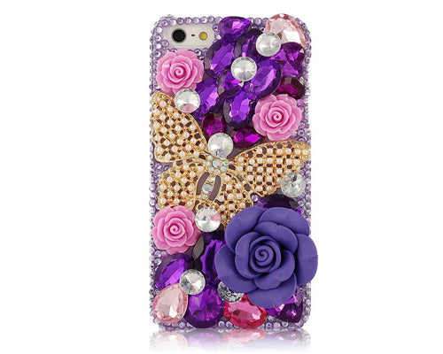Rainbow Rhinestone Series iPhone 6 Crystal Case - Gold Butterfly