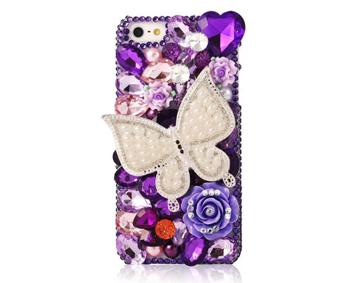 Rainbow Rhinestone Series iPhone 6 Crystal Case - White Butterfly