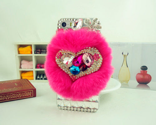 Furry Series Bling iPhone 6 Plus Crystal Case (5.5 inches) - Magenta