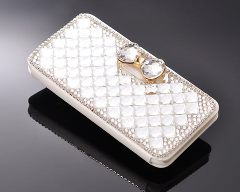 Diamond Folio Series iPhone 7 Flip PU Leather Case - Bow