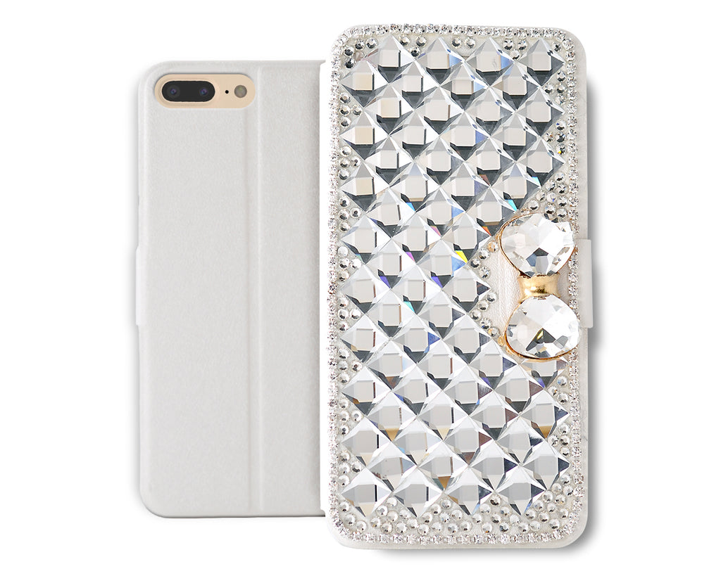 Diamond Folio Series iPhone 7 Plus Flip PU Leather Case - Bow
